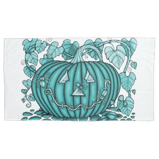 Aqua Spidery Pumpkin Pillowcase