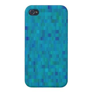 Aqua Squares modern pattern iPhone 4 Case