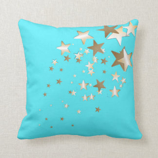 Aqua Star Throw Pillow