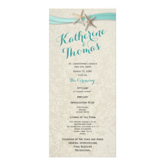 Aqua Starfish and Ribbon Beach Wedding Program