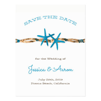 Aqua Starfish and Rope Save the Date Postcard