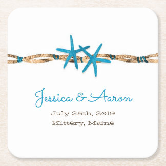 Aqua Starfish and Rope Wedding Square Paper Coaster