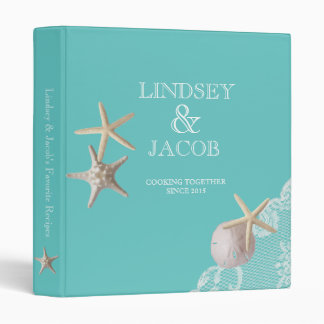 Aqua Starfish Beach Recipes Vinyl Binder