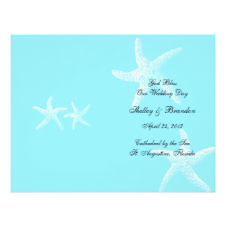 Aqua Starfish Custom Program Cover Letterhead