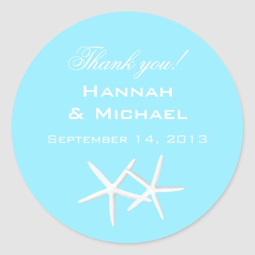 Aqua Starfish Round Personalized Thank You Labels Round Stickers