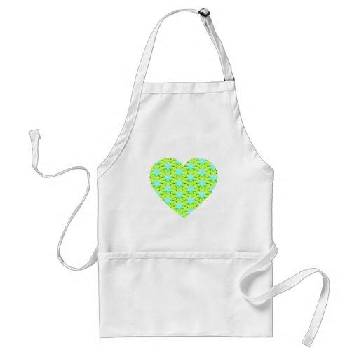 Aqua Stars and Green Heart Apron