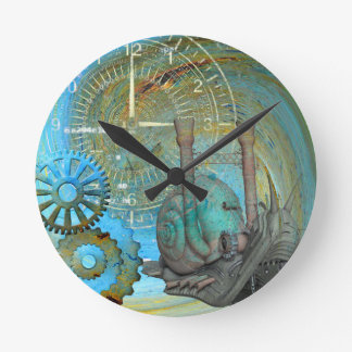Aqua Steam Snail Traveler Round Clock