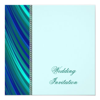 Aqua stripe, silver chain card