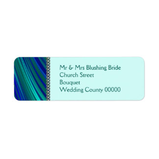 Aqua stripe, silver chain return address label