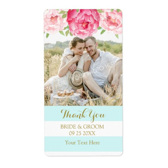 Aqua Stripe Watercolor Floral Photo Wedding Labels