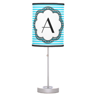 Aqua Striped Floral Vintage Style Border Monogram Desk Lamps