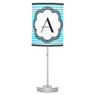 Aqua Striped Floral Vintage Style Border Monogram Table Lamp