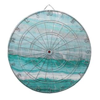 Aqua Striped Quartz Crystal Dartboard With Darts