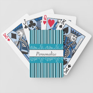 Aqua Stripes and Curls Bicycle Playing Cards