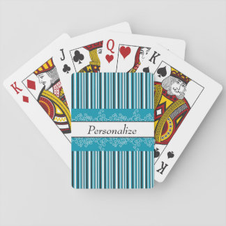 Aqua Stripes and Curls Playing Cards