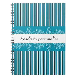 Aqua Stripes and Curls Spiral Notebook