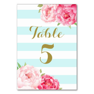 Aqua Stripes Pink Floral Wedding Table Number Card Table Cards