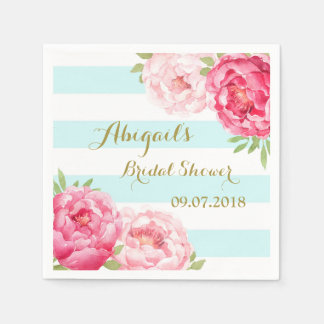 Aqua Stripes Pink Watercolor Bridal Shower Napkins Paper Napkins