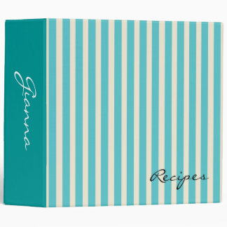 Aqua Stripes Vinyl Binder