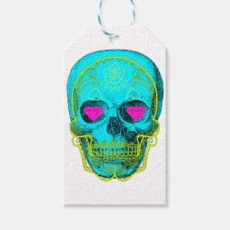 Aqua Sugar Skull Gift Tags