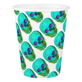 Aqua Sugar Skull Paper Cup