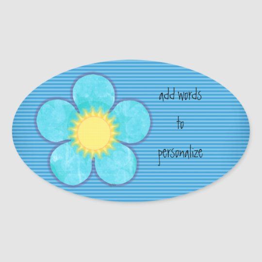 Aqua Sunshine Oval Oval Sticker