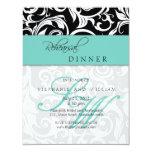 "Aqua Swirl Monogram Rehearsal Dinner Card 4.25"" X 5.5"" Invitation Card"