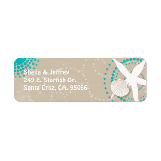 Aqua Tan White Beach Wedding Return Address Label