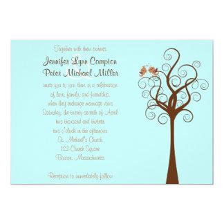 Aqua, Taupe, Brown Lovebirds Wedding Invitation