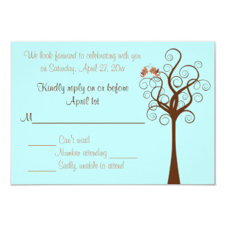 Aqua, Taupe, Brown Lovebirds Wedding RSVP Card
