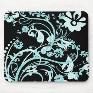 Aqua Teal and Black Floral Swirls Gifts for Girls Mouse Pad