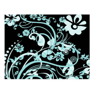 Aqua Teal and Black Floral Swirls Gifts for Girls Postcard