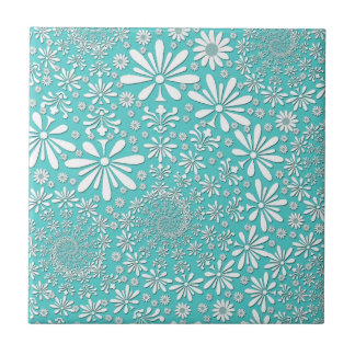 Aqua Teal and White Spring Flowers Pattern Tile