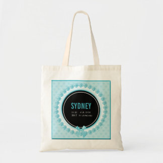 Aqua Teal Baby Birth Announcement | New Mommy Tote Bag