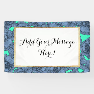Aqua Teal Blue and Black Modern Line Art Flowers Banner