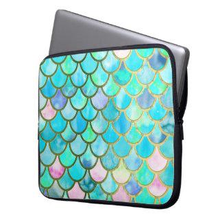 Aqua Teal Blue Watercolor Mermaid Scales Pattern Laptop Sleeve