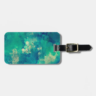 Aqua Teal Blue Watercolor Painting Distressed Art Luggage Tag