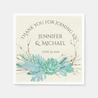 Aqua Teal Blue Watercolor Succulent Wedding Custom Disposable Napkin