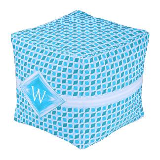 Aqua Teal Diamond Ice Pattern Monogram Pouf