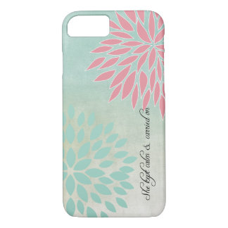 Aqua Teal Floral with She Quote iPhone 7 Case