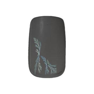 Aqua Teal Green and Black Fractal Nail Art Wraps