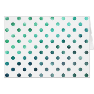 Aqua Teal Green Metallic Faux Foil Polka Dot White Card