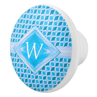 Aqua Teal Icy Diamond Pattern Monogram Ceramic Knob