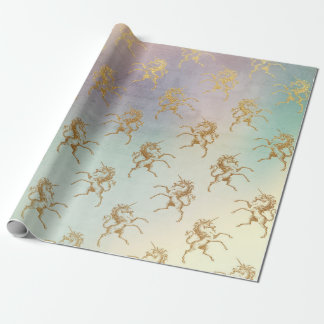 Aqua Teal Mint Pastel Ombre Purple Gold Unicorn Wrapping Paper