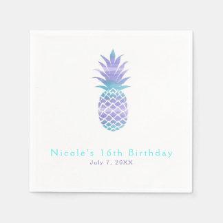 Aqua Teal & Purple Pineapple Tropical Chic Party Paper Napkins