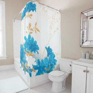 Aqua teal spring flower blossom shower curtain