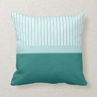 Aqua Teal Turquoise Blue Stripes Polka Dots Throw Pillow