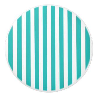 Aqua Teal Turquoise Vertical Stripe Drawer Dresser Ceramic Knob