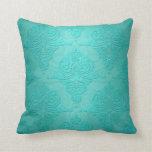 Aqua Teal Vintage Grunge Damask Pattern Throw Pillows