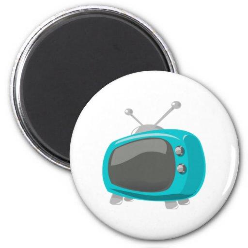 Aqua Television Refrigerator Magnets